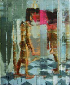 Casal com bola rosa. 36cmx46cm. óleo sobre tela. Taigo Meireles.