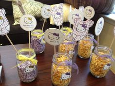 Baby shower theme: hello kitty table centerpieces