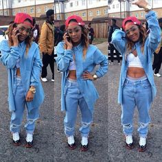 Old School Hip Hop Swag Paigey Cakey Denim Suit Jeans Jacket Jordans Trust Me Videoshoot UK LONDON Female Rapper Dope Fashion Sick Hard Trend #PaigeyCakey