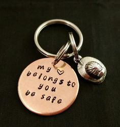 firefighter keychain be safe my heart belongs to you by TiffysLove