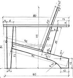 Чертеж деревянного кресла - вид сбоку