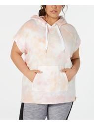 CALVIN KLEIN Womens Pink Tie Dye Short Sleeve Hooded Hoodie Sweater Plus  Size: 3X