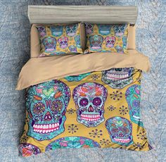 3D Customize Colorful Skull Bedding Set Duvet Cover Set Bedroom Set Bedlinen 1)100% Microfiber,Soft and Comfortable.  2)Environmental Dyeing,Never Lose Color.  3)2017 Newest Design,Colorful Skull,Fashion and Personality.