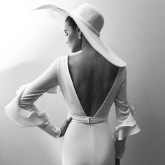 New look vintage deep v backless white satin. Gorgeous big Kentucky derby show off hat
