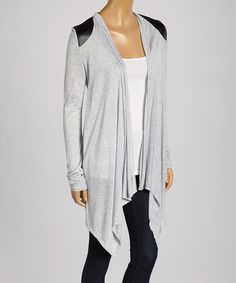 Another great find on #zulily! Heather Gray Sheer-Yoke Sidetail Open Cardigan by Zenana #zulilyfinds