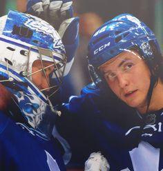 James Reimer and Tyler Bozak James Reimer, Phil Kessel, Hockey Baby, Toronto Maple Leafs, Hockey Players, Nhl, Leaves, Celebrities, Celebs