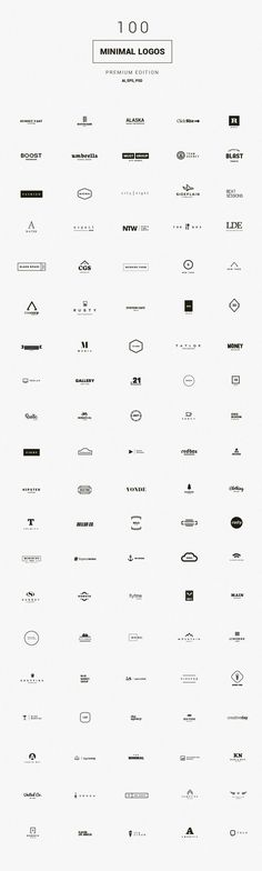 100 Minimal Logos - Premium Kit by DesignDistrict on /creativemarket/