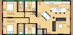 Modern Style House Plan - 2 Beds 2 Baths 1234 Sq/Ft Plan #474-17 Main Floor Plan - Houseplans.com