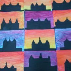 Colour blending activity featuring our school in silhouette at sunset