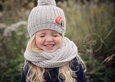 Rainbow hat & grey scarf