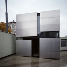 """Boxhome is a small, residential project in Oslo by Norwegian architects Rintala Eggertsson. The 19 square metre dwelling is described by the architects as being """"a peaceful small home, a kind of urban cave"""". It is constructed using a timber frame and is clad in aluminium. Internally, a different species of wood was chosen for"""