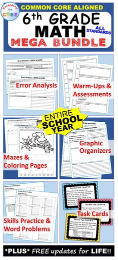6th GRADE COMMON CORE MEGA-BUNDLE Includes 53 of my top selling resources (over 480 pages of warm-ups, task cards, error analysis worksheets, problem solving graphic organizers, homework practice worksheets, mazes, riddles, coloring activities). Perfect for warm-ups, math stations, assessments, homework, exit tickets and test prep. Common Core aligned Number System (6NS), Ratios and Proportional Reasoning (6RP), Expressions and Equations (6EE), Statistics and Probability (6SP), Geometry (6G) Math Stations, Math Centers, Math Task Cards, Secondary Math, Teacher Resources, Teaching Ideas, Elementary Math, Word Problems, Graphic Organizers
