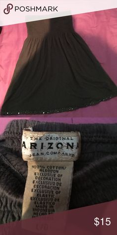 Strapless top Gray Strapless Arizona top. Size large. It's fitting in the breast area and flows down. Lace with sequence trim on the bottom. Arizona Jean Company Tops Camisoles