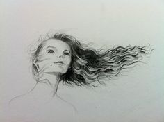 Retrato Pelo viento Chica II