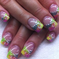 Gel nails with hand drawn design By Melissa Fox