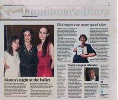 Evening Standard, Bianca's night at the ballet. Irina Kolesnikova and Bianca Jagger