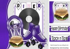 Lets Rock n Roll with purple juke box 8x8 on Craftsuprint - View Now!