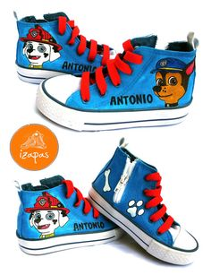 Hand Painted Paw Patrol Hi Top Boots by izapas on Etsy