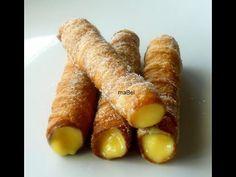 Cañas fritas gallegas (Carballiño) rellenas de crema         ~          Pasteles de colores