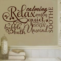 Bubble Bath Relax Word Collage Quote, Vinyl Wall Lettering, Vinyl Decals, Wall Quotes, Vinyl Letters, Wall Words, Bathroom Decal