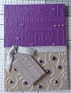 Embossed birthday card using cuttlebug embossing folder by magdalena