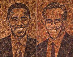 'Barack Obameat' portrait of Barack Obama made from Jack Links' beef jerky. 'Meat Romney' portrait of Mitt Romney made from Jack Links' beef...