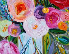 """Fine Art PRINT, Large Still Life, Abstract Flowers, Colorful Bouquet by Carolyn Shultz """"Jen"""""""