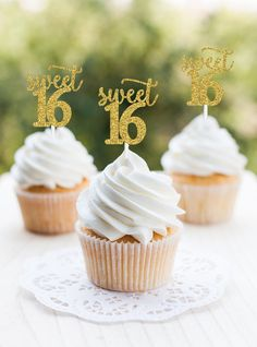 Excited to share this item from my #etsy shop: Sweet 16 cupcake topper, Sweet 16 Party Decorations, Sweet 16 Party Decor, Sweet 16 Birthday Party Cake Topper, Girl 16th Cupcake, Sweet 16