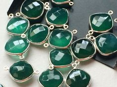 5 Pcs Green Onyx Connectors Green Faceted Square by gemsforjewels