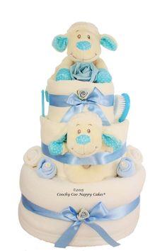 Luxury spring lamb baby boy nappy cake. Great baby shower gift www.Coochycoonappycakes.co.uk