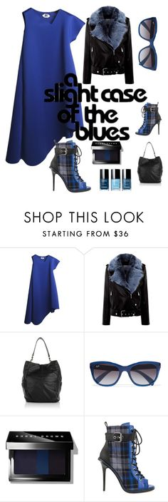 """""""Slight case of the blues  faux fur coat contest"""" by im-karla-with-a-k ❤ liked on Polyvore featuring La Bête, Liebeskind, Ray-Ban, Bobbi Brown Cosmetics, GX, women's clothing, women, female, woman and misses"""