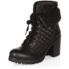 Black Shearling Trim Lace Up Block Heel Boots ($54) ❤ liked on Polyvore featuring shoes, boots, black, laced shoes, lace front boots, front lace up boots, lace up shoes and kohl shoes