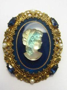 W Germany Sapphire Blue Glass Rhinestone Cameo Faux Pearl Filigree Pin