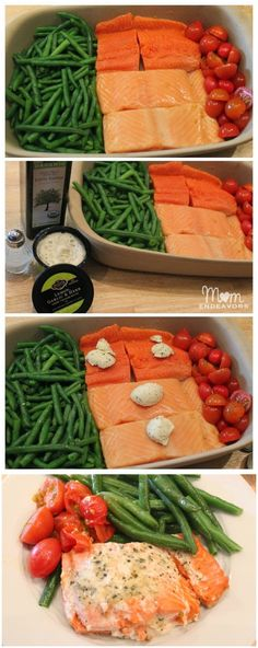 One Dish Dinner Salmon & Vegetables! Easy to prepare with only 1 dish to clean!, Favorite Recipes, One Dish Dinner Salmon & Vegetables! Easy to prepare with only 1 dish to clean! Quick Healthy Meals, Healthy Cooking, Healthy Eating, Cooking Recipes, Healthy Recipes, Clean Eating, Healthy Food, Clean Recipes, Salmon Recipes