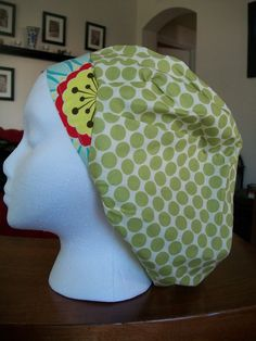 Green Dots and Daisy Scrub Caps by fadendesignstudios on Etsy, $17.99