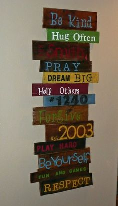 customized hand painted wall art made from up cycled pallet wood. Maybe leave the wood plain and paint the words in white Pallet Crafts, Pallet Art, Pallet Signs, Wood Crafts, Pallet Wood, Pallet Ideas, Decor Crafts, Hand Painted Walls, Painted Signs