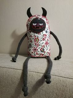 Little imp, funny plush toy, funny softie, adorable softie, little plush toy, small devil, monster with horns, monster sewed, sewed monster, fabric monster toy, demon softie, softie demon. Created by Hugehug.