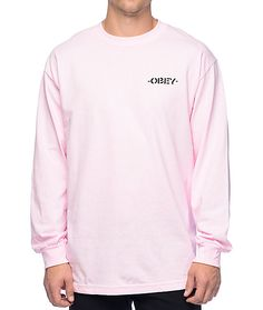 0b37eae5c Obey Mother Earth Light Pink Long Sleeve T-Shirt