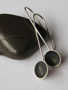 Sterling Silver Oxidised Dangle Dome Earrings.  Contemporary New Zealand Jewellery by ZaZing on Etsy, $55.00