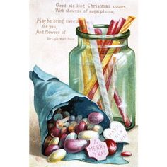Christmas Sweets, Victorian postcard ($20) ❤ liked on Polyvore featuring candy