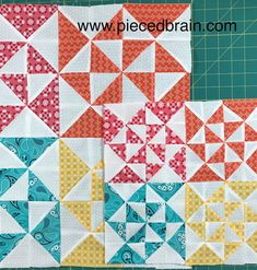 Block 3, Peaches and Plenty, from the Clementine Quilt Along hosted by Fat Quarter Shop. Loving it! Pieced Brain
