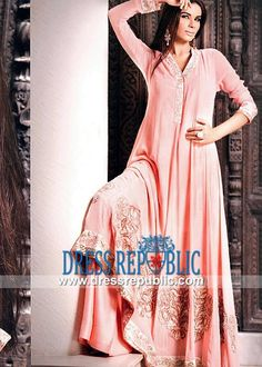 Coral Long Shirt Dress from Pakistani Party wear Suits 2014