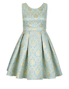 Rise to special occasions with the Selina jacquard dress by STORM for Monsoon for girls aged 8-15 years. Crafted from  blue and gold baroque jacquard, this elegant fit-and-flare style features a cut-out back with a button fastening. Fully lined with petticoat and back zip fastening.