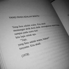 Sapardi Djoko Damono Reminder Quotes, Self Reminder, Poetry Quotes, Book Quotes, Word 3, Joko, In My Feelings, Beautiful Words, Quote Of The Day