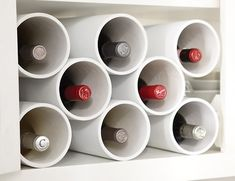Bespoke Wine Rack 4-inch PVC pipe, paint, and velcro strips!