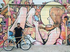 A Pure Fix Golf against an art wall. #bike #bicycle #fixie #fixedgear #art #streetart #graffiti