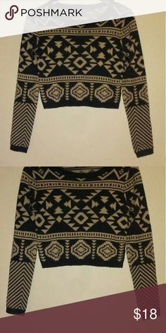 Aztec Tribal Cropped Sweater Aztec tribal Sweater Cropped Warm and so adorable! Great Condition! Rue21 Sweaters