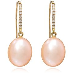 Kojis Pink Pearl and Diamond Pear Drop Earrings ($1,025) ❤ liked on Polyvore featuring jewelry, earrings, pearl, pear diamond pendant, pear drop earrings, pearl diamond earrings, pink earrings and pink diamond pendant
