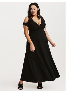 1675ee67e3b Jersey Cold Shoulder Surplice Maxi Dress from Torrid. I have this in the  gray color that is no longer available. I am considering getting this color  too.