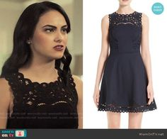 Ted Baker Verony Dress worn by Veronica Lodge (Camila Mendes) on Riverdale Veronica Lodge Fashion, Veronica Lodge Outfits, Verona, Navy Blue Party Dress, Riverdale Veronica, Red And Black Outfits, Riverdale Fashion, Tv Show Outfits, Panel Dress